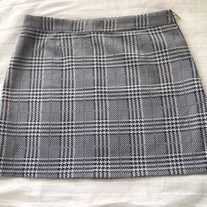 Blue and White Plaid Skirt